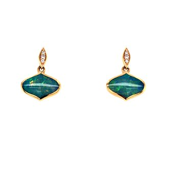 Opal & Diamond Drop Earrings