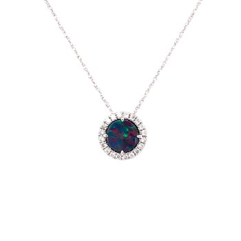 Opal Doublet and Diamond Halo Pendant