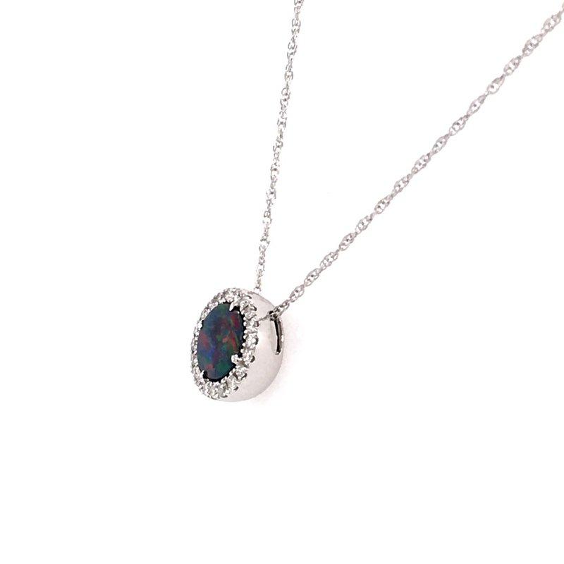 Parlé Opal Doublet and Diamond Halo Pendant