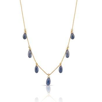 Blue Sapphire Drop Necklace