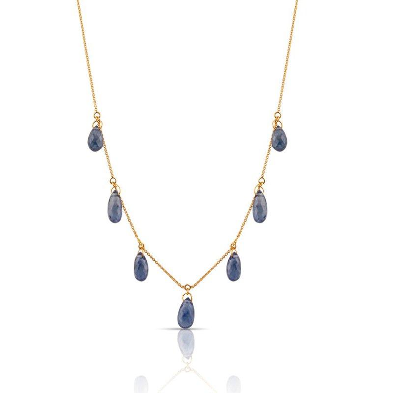 Tresor Blue Sapphire Drop Necklace