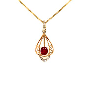 Yellow Gold Ruby and Diamond Enhancer