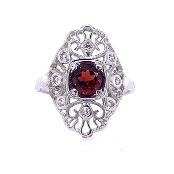 Garnet Filigree Ring