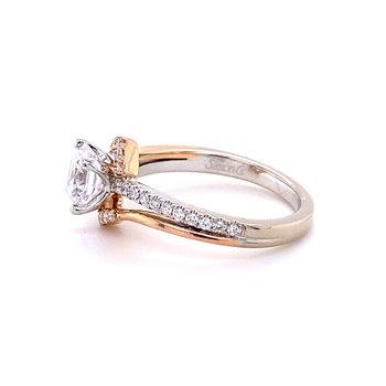 Rose and White Gold Round Diamond Engagment Ring