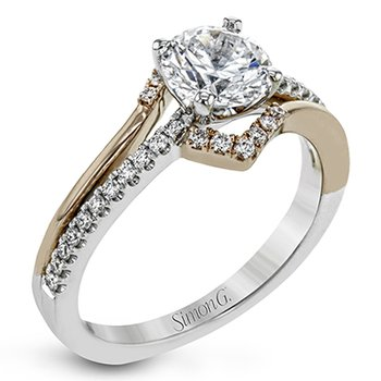 Rose and White Gold Round Diamond Engagment Ring