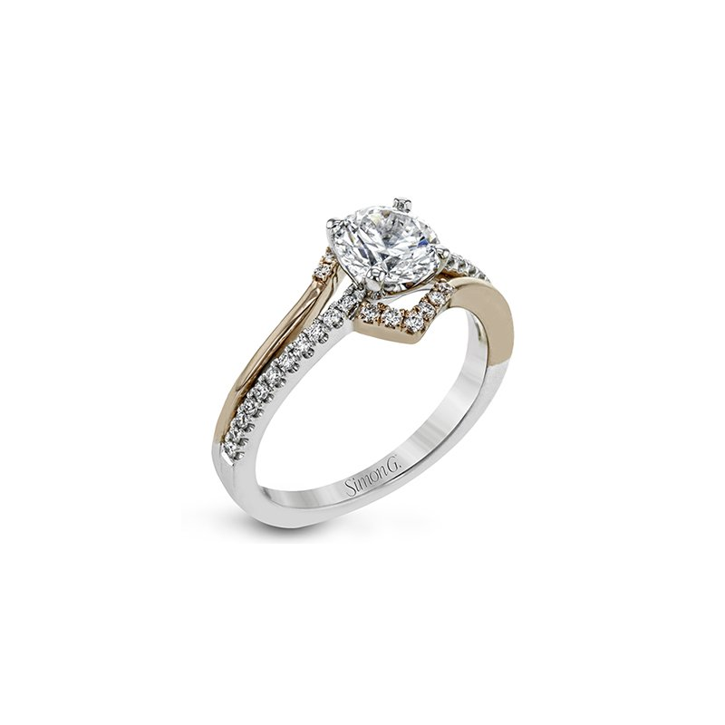 Simon G IN-STORE COLLECTION Rose and White Gold Round Diamond Engagment Ring