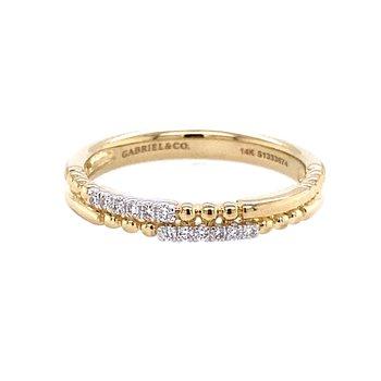 Double Row Diamond Beaded Ring