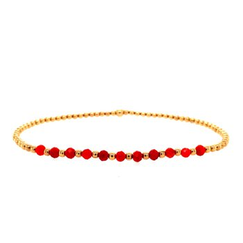2mm Yellow Gold Filled and Coral Bead Bracelet