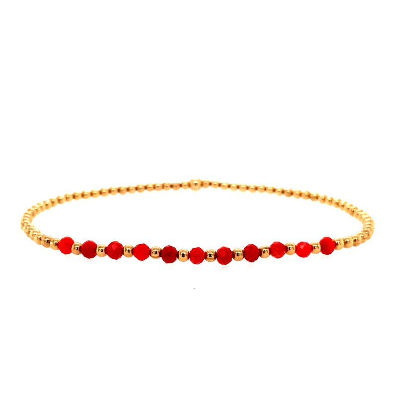 Karen Lazar 2mm Yellow Gold Filled and Coral Bead Bracelet