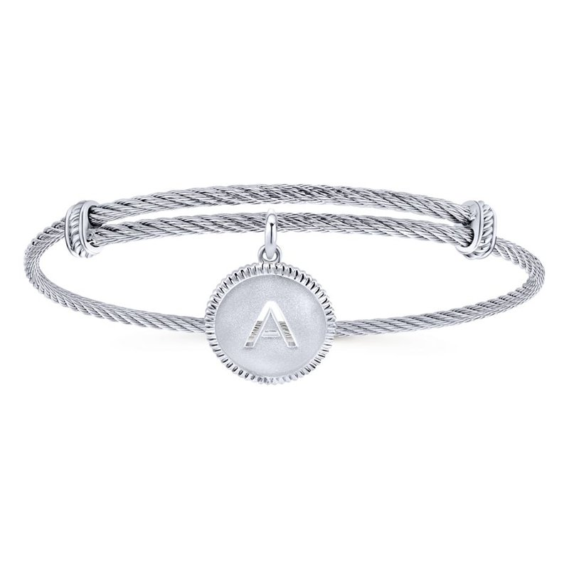 "Gabriel & Co. -  IN-STORE COLLECTION SS Initial ""A"" Bangle"