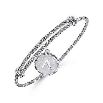 """SS Initial """"A"""" Bangle"""