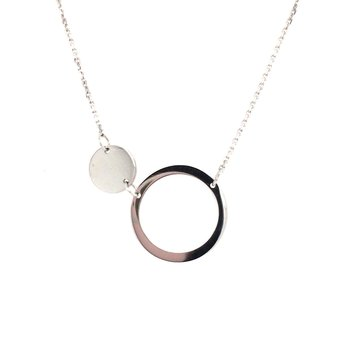 Open Circle and Disc Station Necklace
