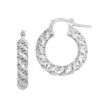 Diamond Cut Wire Hoops