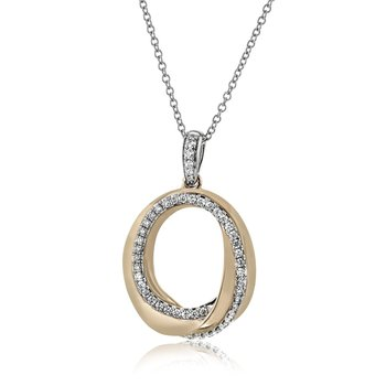 18K Two Tone Diamond Entwined Circle Pendant