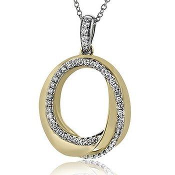 18K TwoTone Diamond Entwined Circle Pendant