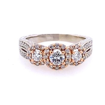 Two Tone Triple Halo Engagement Ring