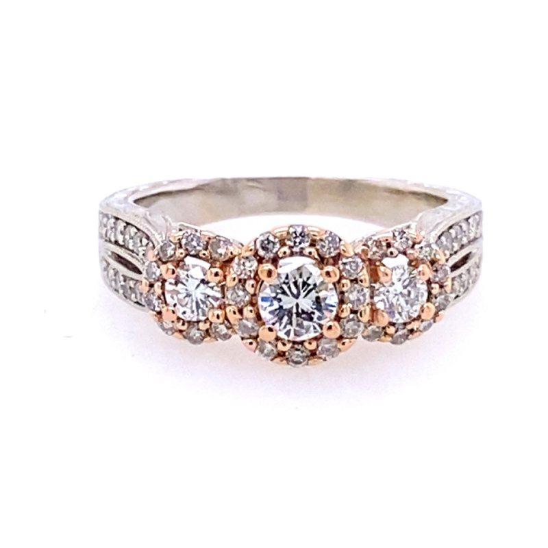 B&C Estate Collection Two Tone Triple Halo Engagement Ring