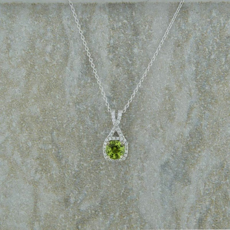 B&C Collections Peridot and Diamond Pendant in 14K White Gold
