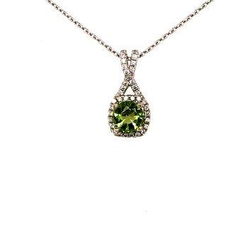 Peridot and Diamond Pendant in 14K White Gold