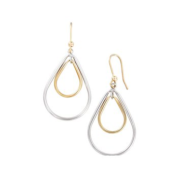 Yellow and White Gold Teardrop Dangles