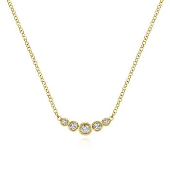 Petite Curved Diamond Bar Necklace