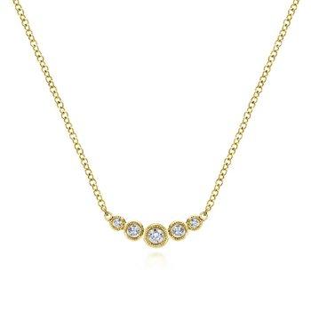 Petite Curved Diamond Bar Necklace