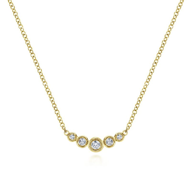 Gabriel & Co. -  IN-STORE COLLECTION Petite Curved Diamond Bar Necklace