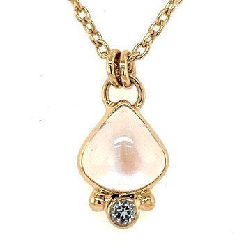 14K Yellow Gold Moonstone and Topaz Necklace