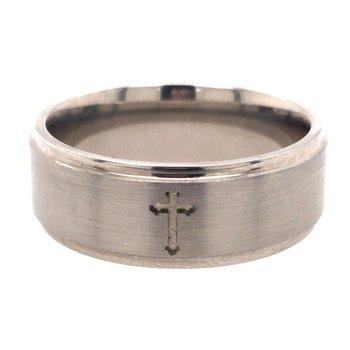 Titanium Band With Cross Design