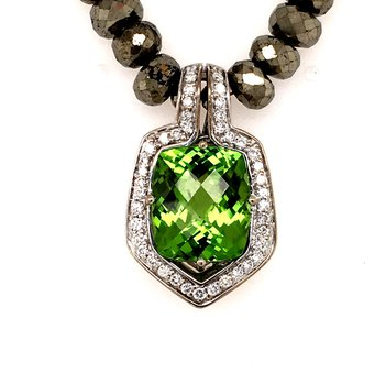 Peridot Diamond and Pyrite Bead Necklace