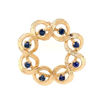 Sapphire Circular Ribbon Pin