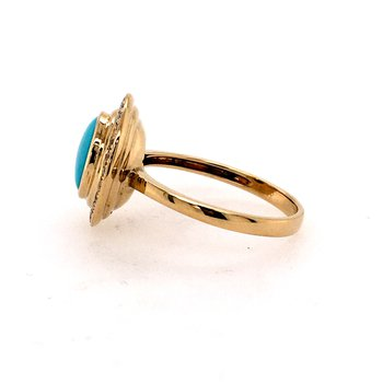 Yellow Gold and Turquise Ring
