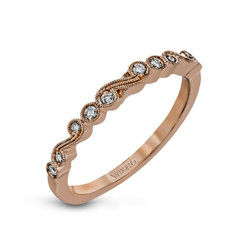 Simon G IN-STORE COLLECTION Vintage Inspired Rose Gold Diamond Swirl Band