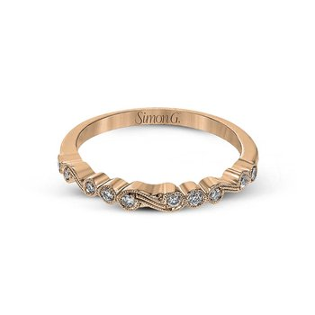 Vintage Inspired Rose Gold Diamond Swirl Band