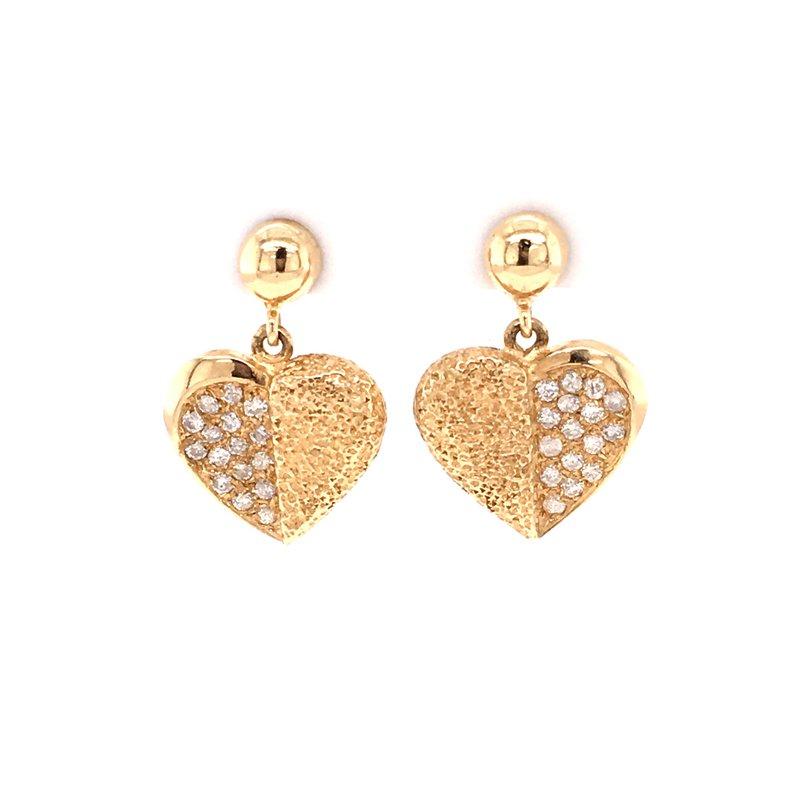 B&C Estate Collection Diamond Heart Earrings