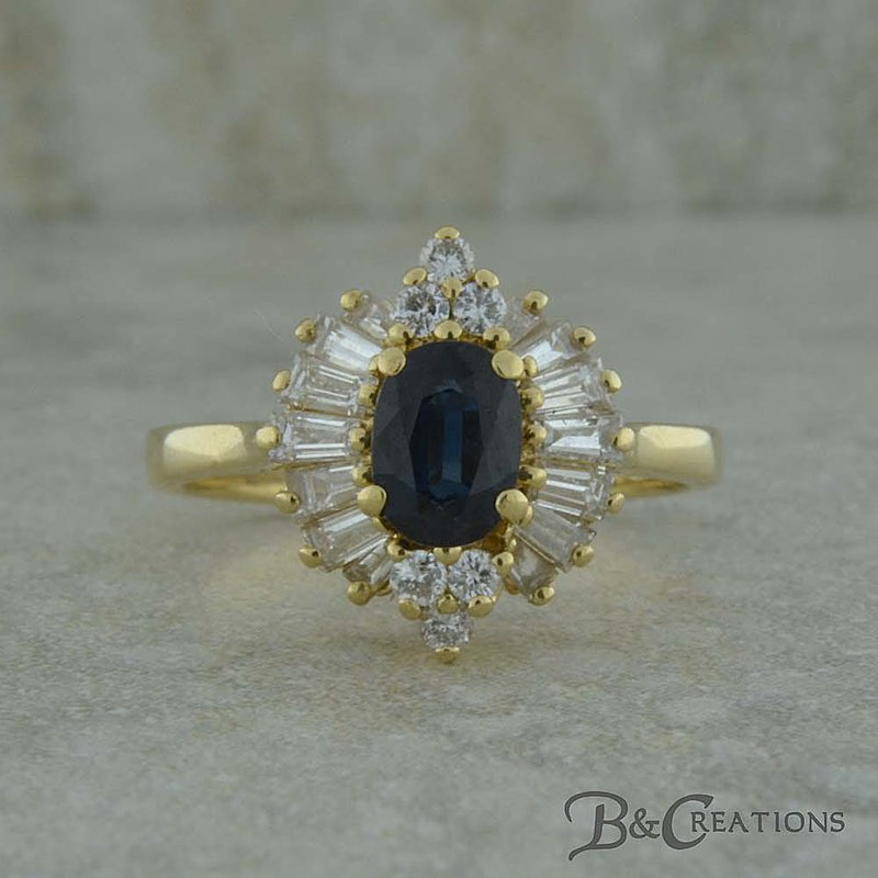 B&C Estate Collection Sapphire and Baguette Diamond Ring