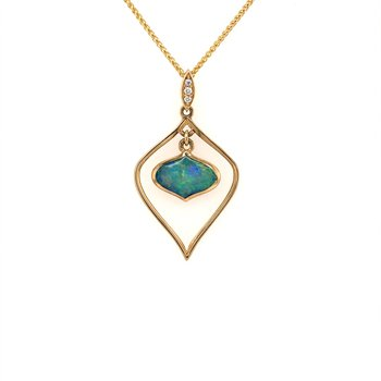 Opal Inlay Framed Pendant