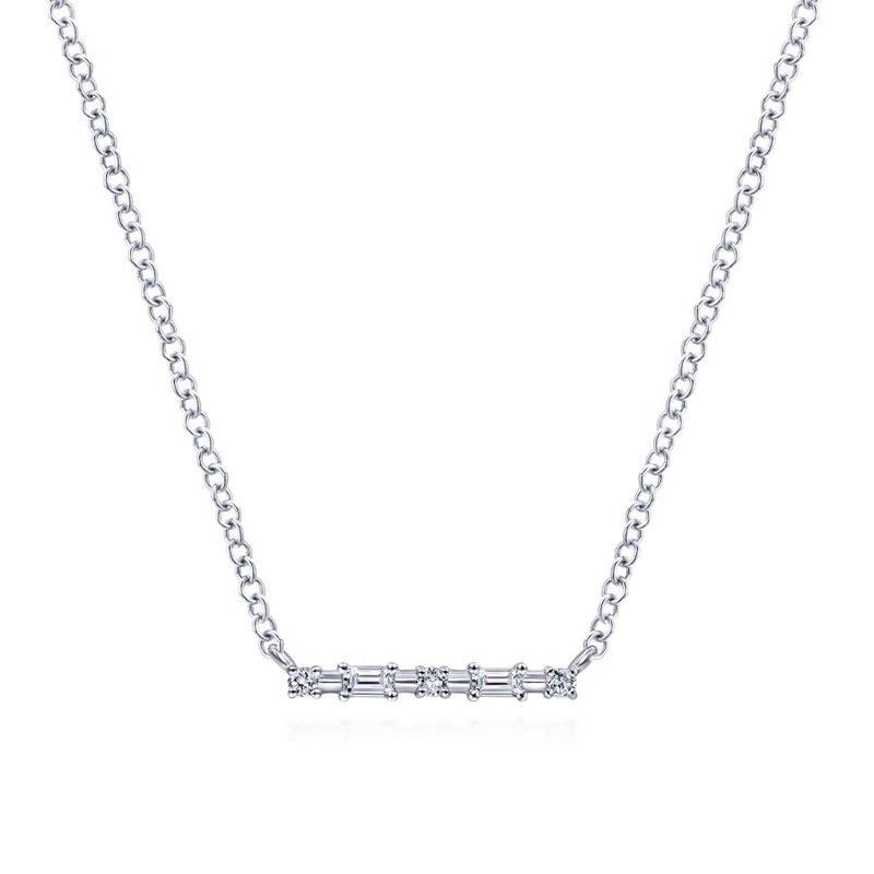 Gabriel & Co. -  IN-STORE COLLECTION Baguette Diamond Bar Necklace