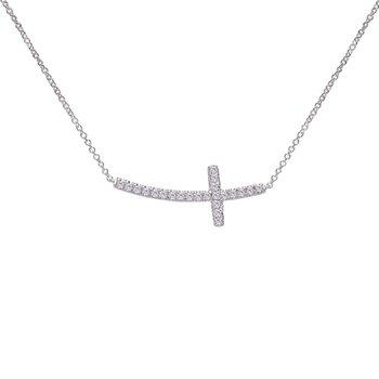 Diamond Sideways Cross Necklace