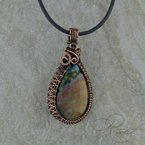 Rapt  Bloodstone Pendant with Copper weave.