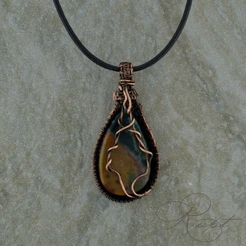 Bloodstone Pendant with Copper weave.
