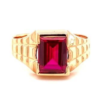 Gents Synthetic Ruby Ring