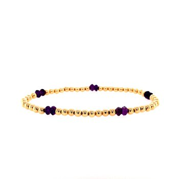 3mm Yellow Gold Filled and Amethyst Bead Bracelet