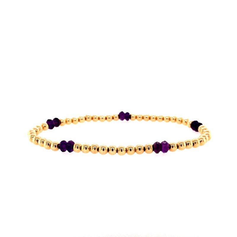 Karen Lazar 3mm Yellow Gold Filled and Amethyst Bead Bracelet