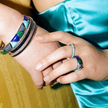 Turquoise Enamel Stackable Band
