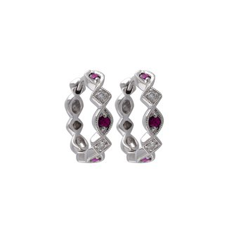Ruby & Diamond Hoops
