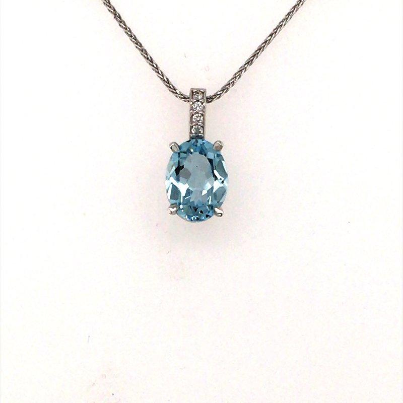 B&C Creations Aquamarine and Diamond Pendant