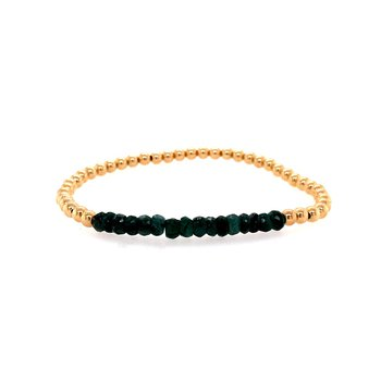 Stretch 3mm Yellow Gold Filled and Emerald Bead Bracelet