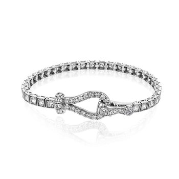 White Gold Diamond Buckle Style Tennis Bracelet
