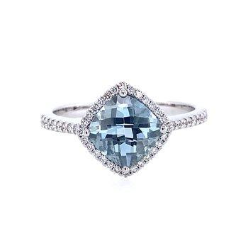 Aqua and Diamond Fashion Ring
